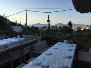 Bodrum zeytinaltı kahvaltı manzarası